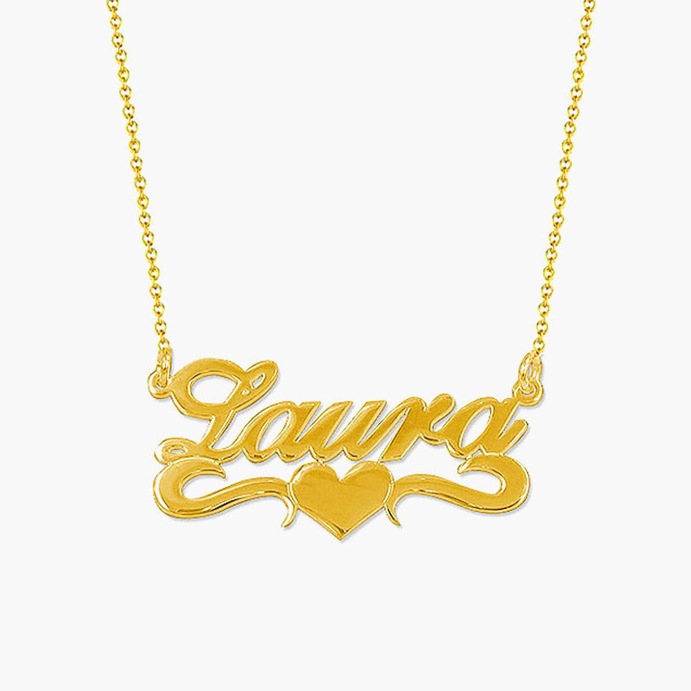 18k Gold Plated Middle Heart Name Necklace