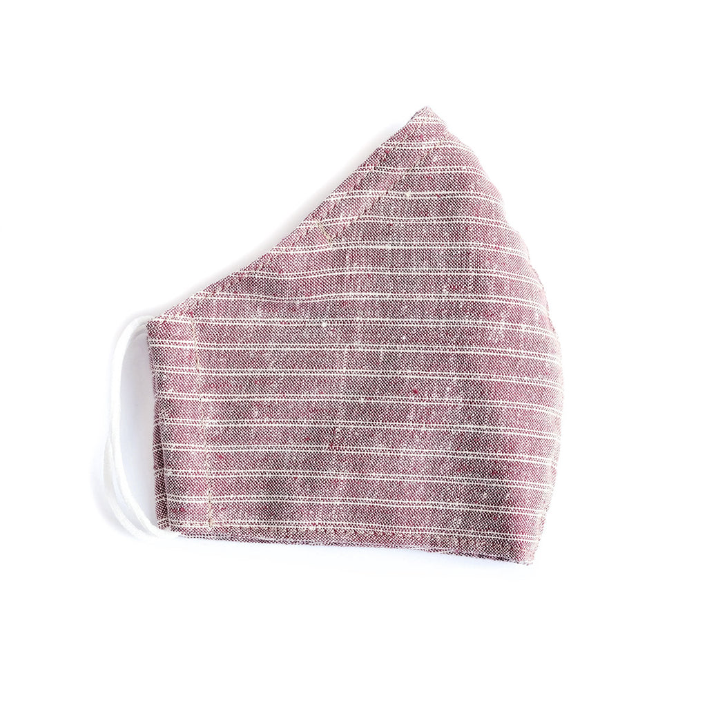 Cotton Face Mask - Elastic Loops - Red Stripe