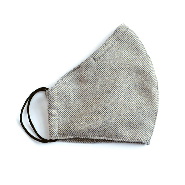 Cotton Face Mask - Elastic Loops - Grey Twill Flannel
