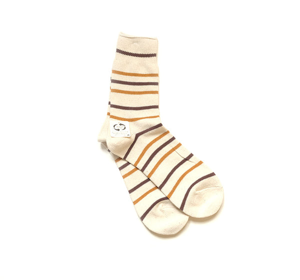 Recycled Cotton Stripe 3/4 - Brown/Mustard