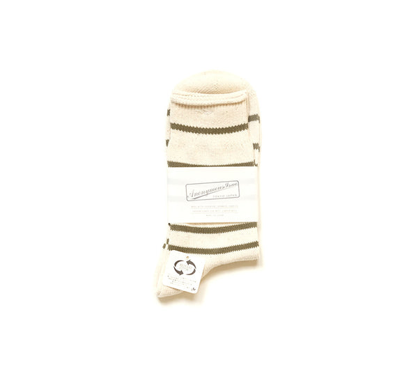 Recycled Cotton Stripe 3/4 - Khaki