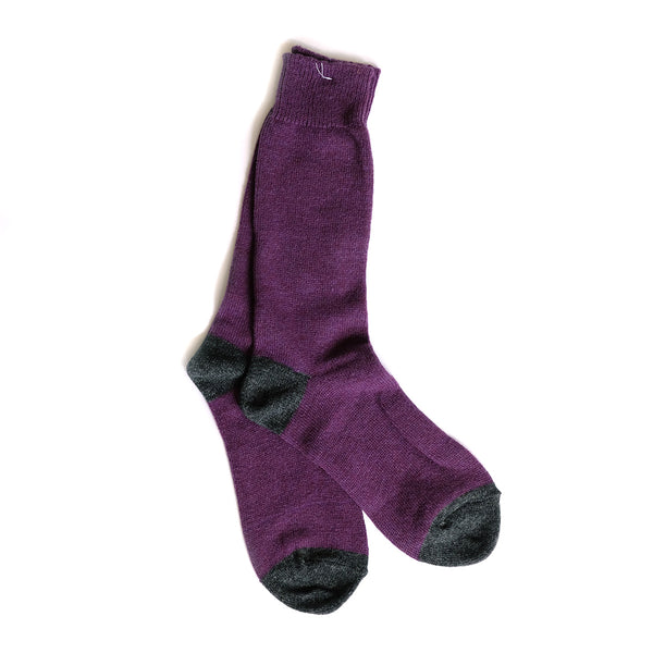 Wool Cashmere Two Point Crew - Purple