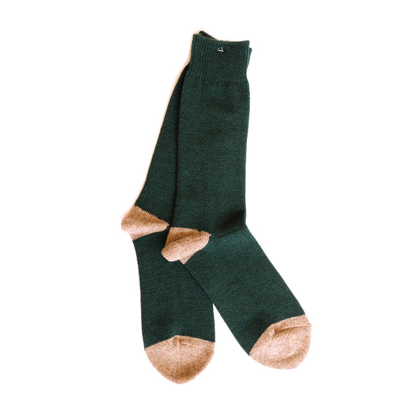 Wool Cashmere Two Point Crew - Moss Green