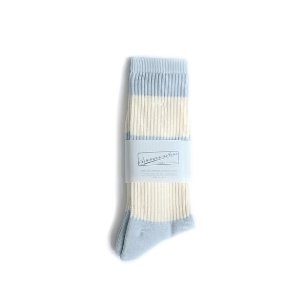 Organic Cotton Thick Stripes Crew - Light Blue