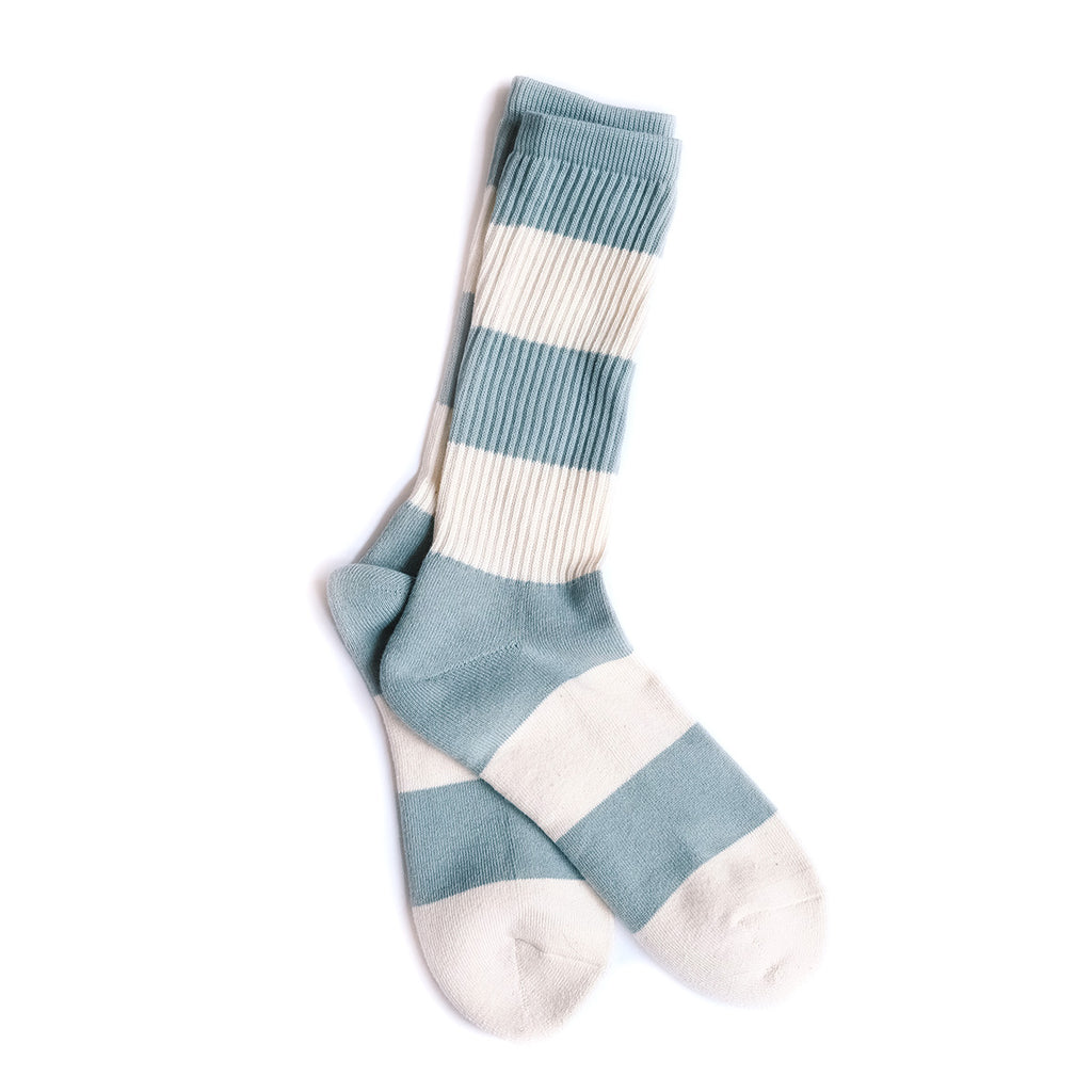 Organic Cotton Thick Stripes Crew - Mint