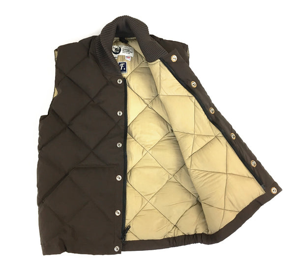 Diagonal Quilt Italian Vest – Brown