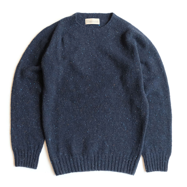 Merino Donegal Crewneck Sweater - Deep Water