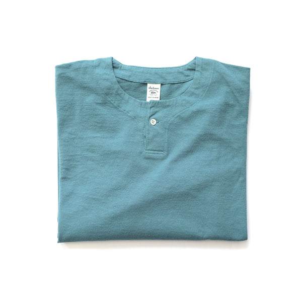 Long Sleeve Henley Tee - Aqua
