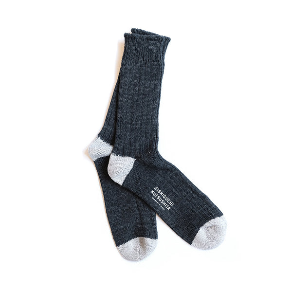Recycled Cotton Ribbed Socks - Charcoal