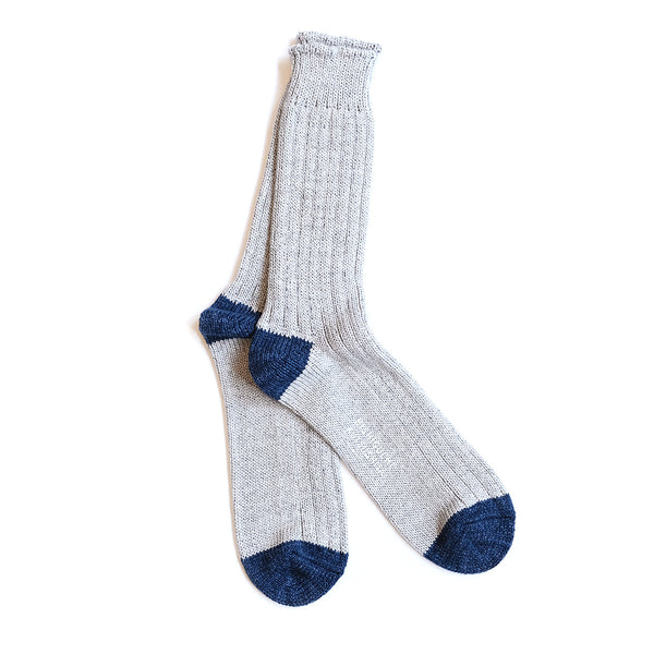 Recycled Cotton Ribbed Socks - Light Gray