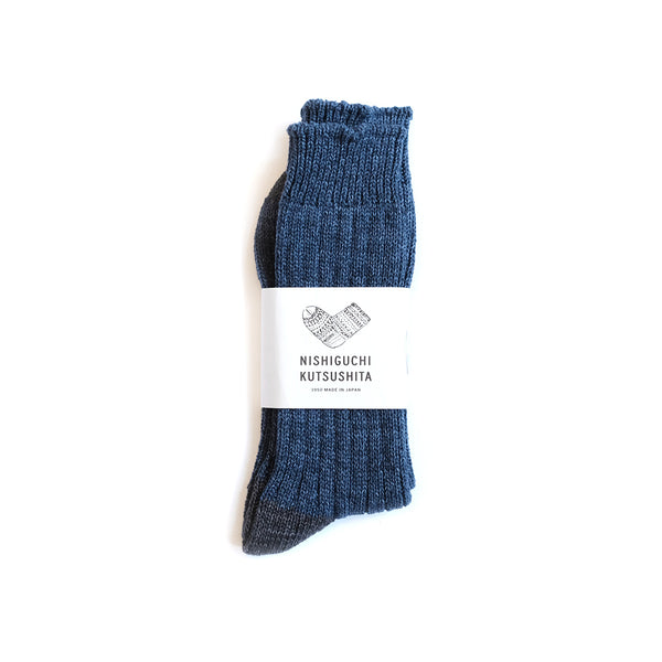 Recycled Cotton Ribbed Socks - Denim