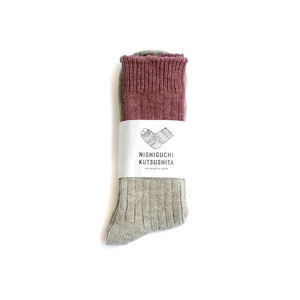 Wool Cotton Slab Socks - Red