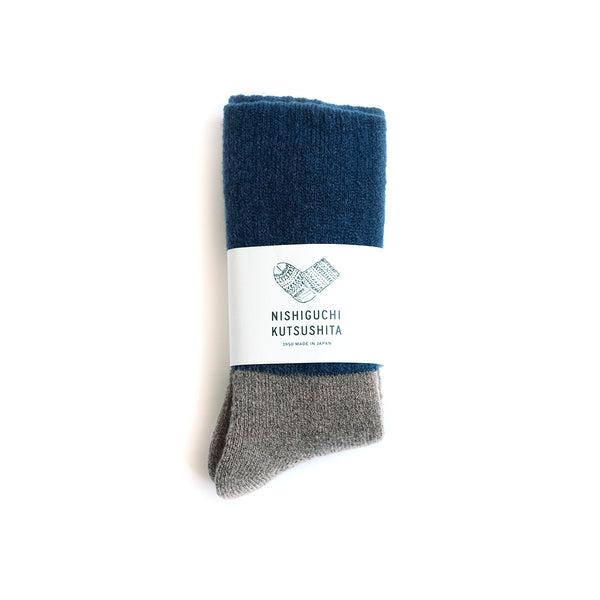 Mohair Wool Pile Socks - Navy