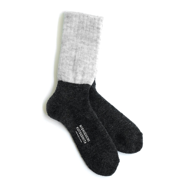 Mohair Wool Pile Socks - Light Gray