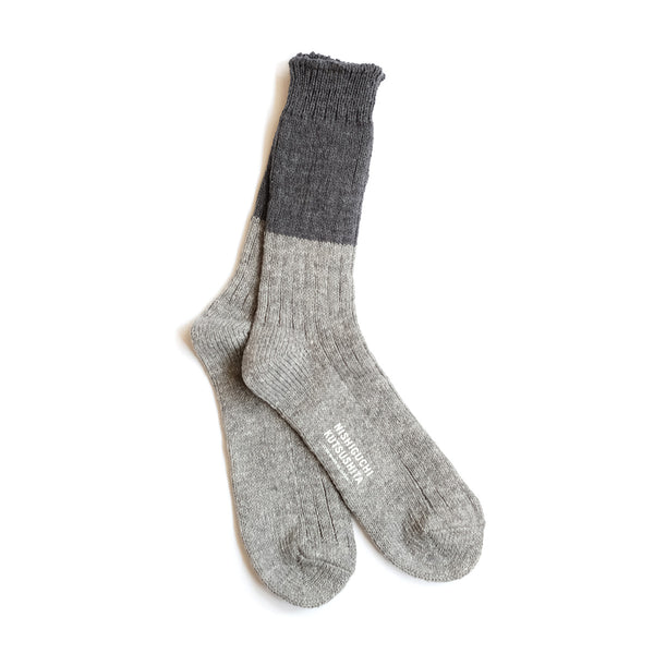 Wool Cotton Slab Socks - Charcoal