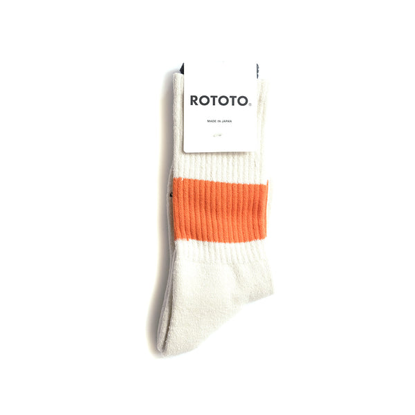 Classic Crew Socks - Ivory/Orange