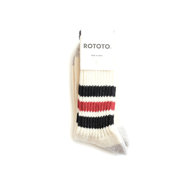 Ribbed Old School Crew Sock - Black/Red