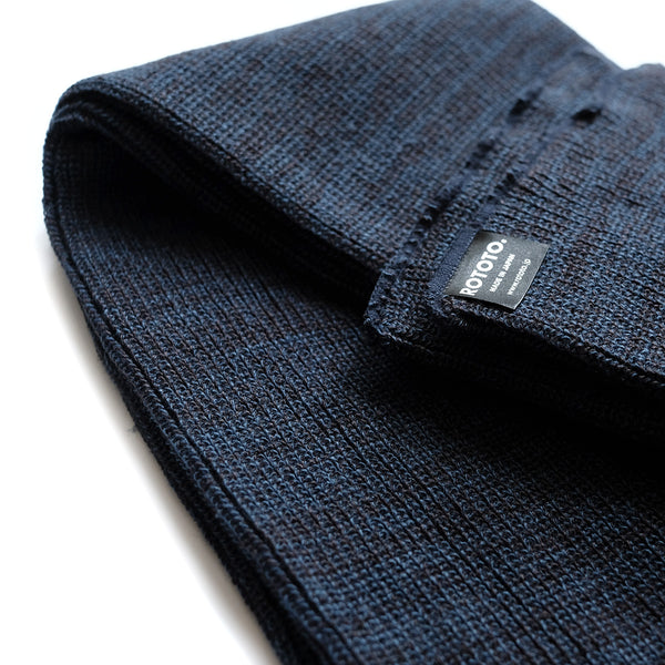 Rototo Knit Scarf - Charcoal/Blue