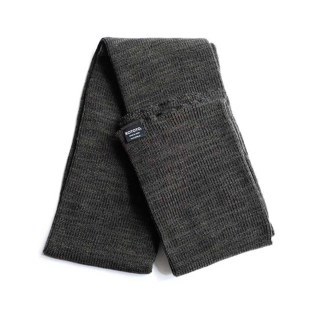 Rototo Knit Scarf - Olive/Charcoal