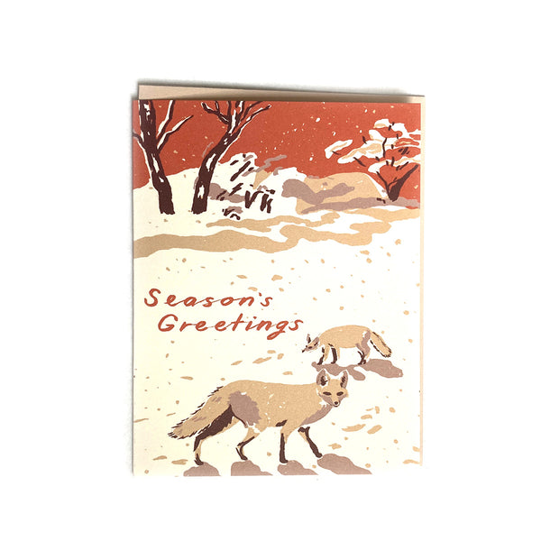 Foxes in the Snow - Seasonal Card