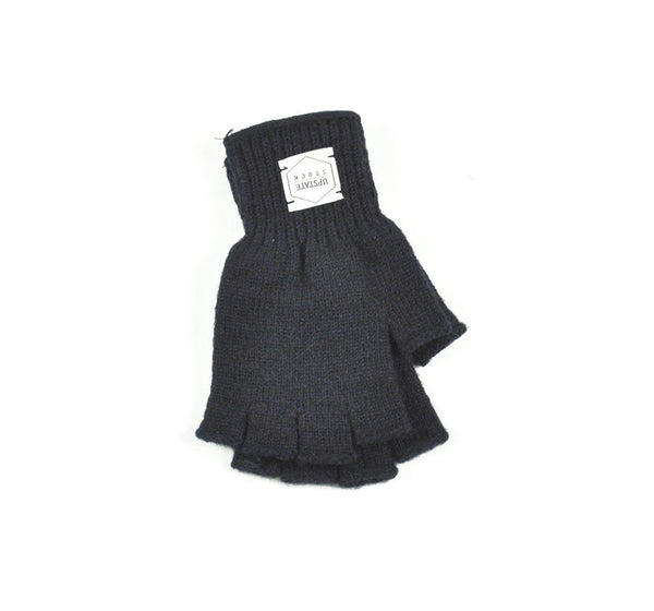 Wool Fingerless Gloves - Navy Melange