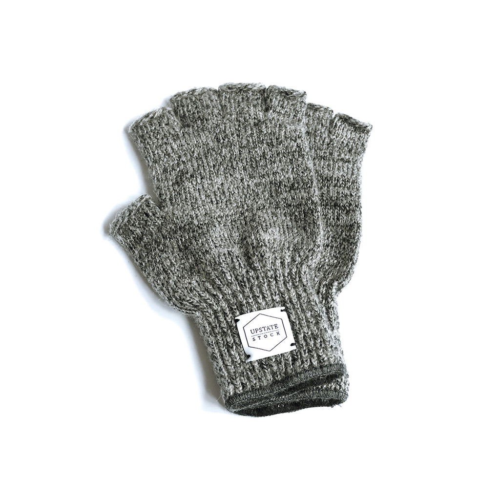 Wool Fingerless Gloves - Charcoal Melange