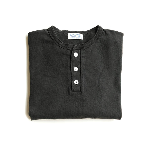 Heavy Long Sleeve Henley - Black