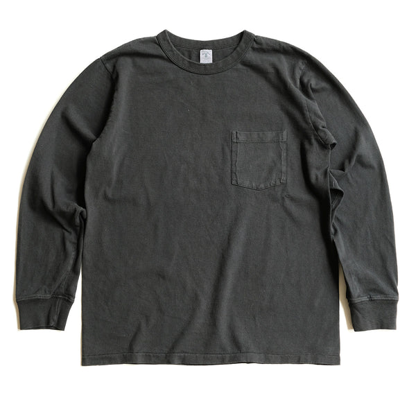 Long Sleeve Pigment Dyed Pocket Tee – Black
