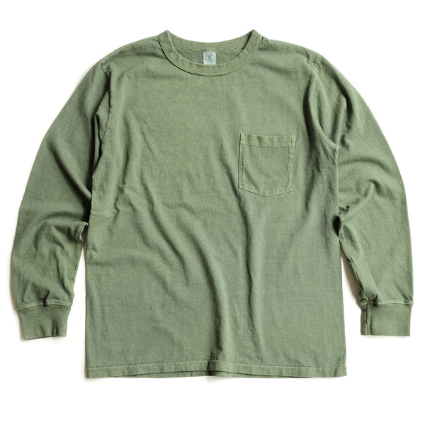 Long Sleeve Pigment Dyed Pocket Tee – Pine