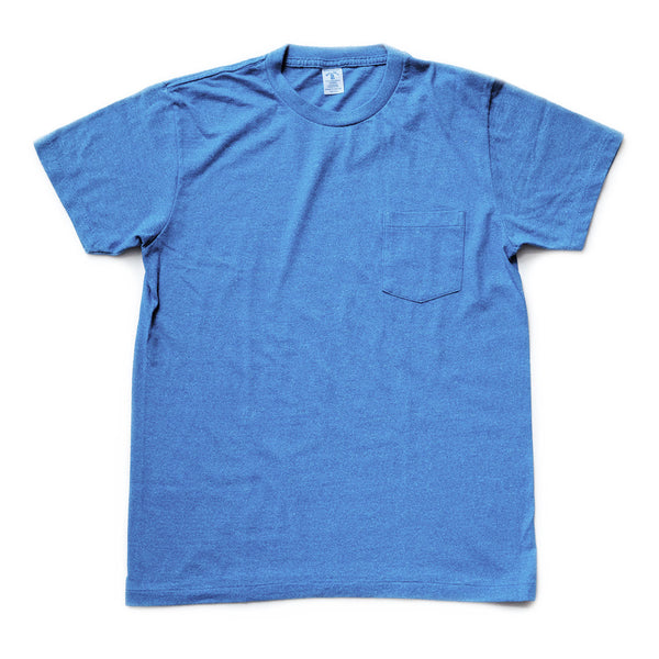 Mock Twist Pocket Tee - Heather Blue