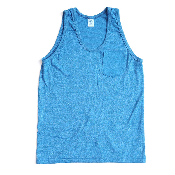 Mock Twist Tank Top with Pocket - Heather Blue