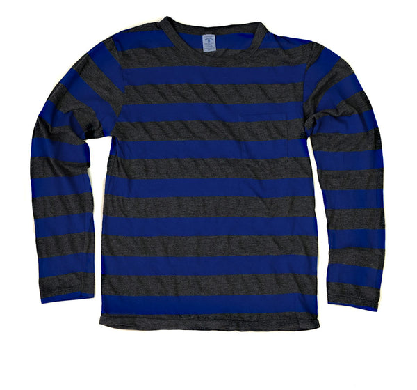 Big Stripe Longsleeve Pocket Tee - Navy/Charcoal