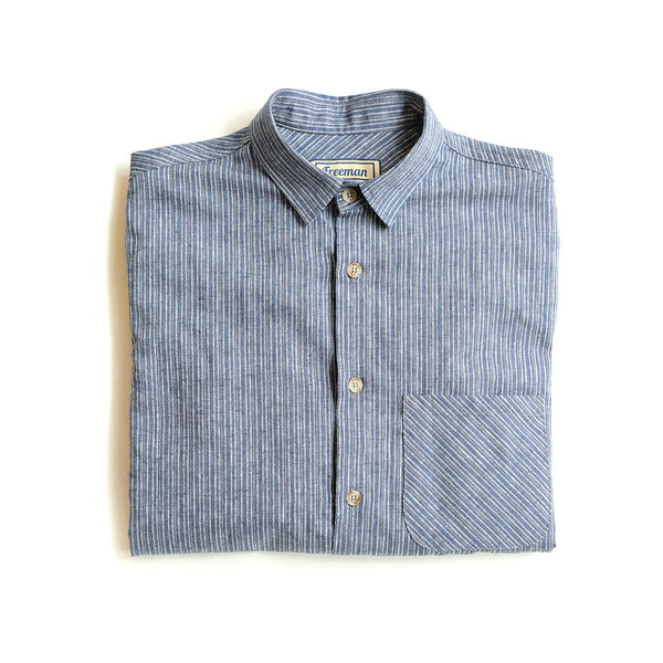 Weathervane Shirt –  Narrow Stripe Chambray