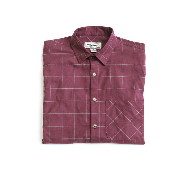 Weathervane Shirt – Maroon Windowpane Flannel