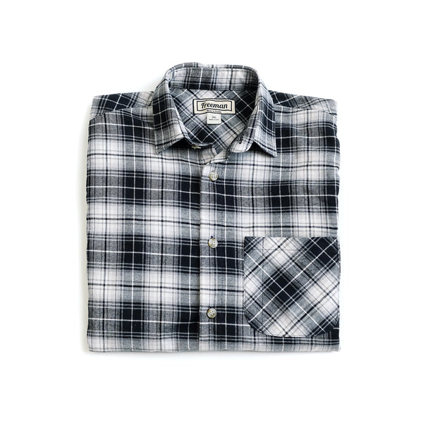 Weathervane Shirt – Black + White Plaid Flannel