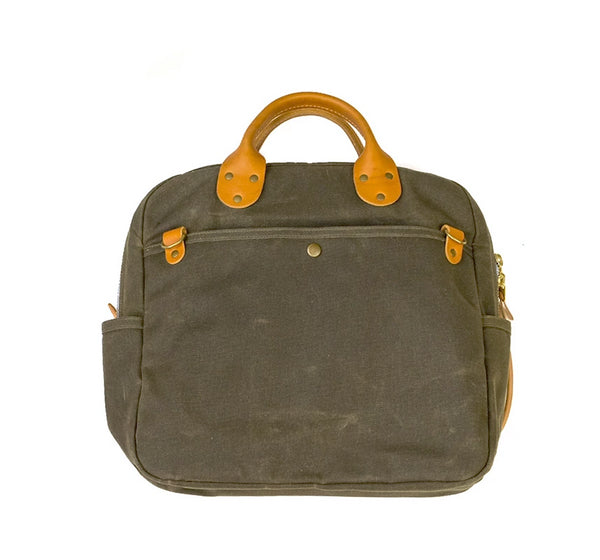 Waxed Canvas Travel Day Bag - Olive