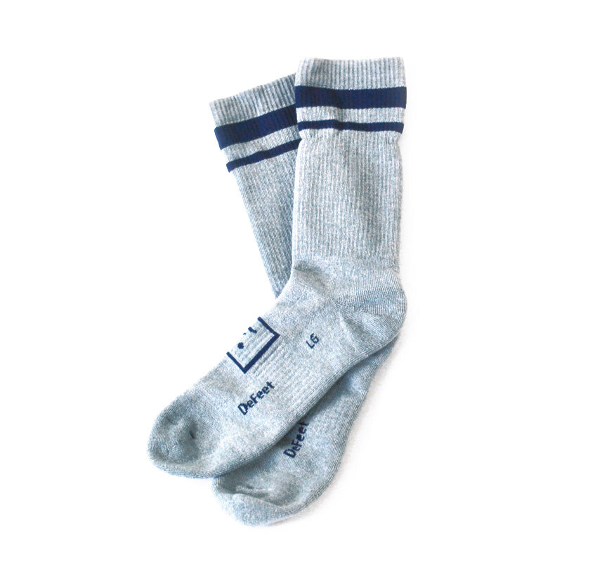 Woolies Sock - Grey with Navy