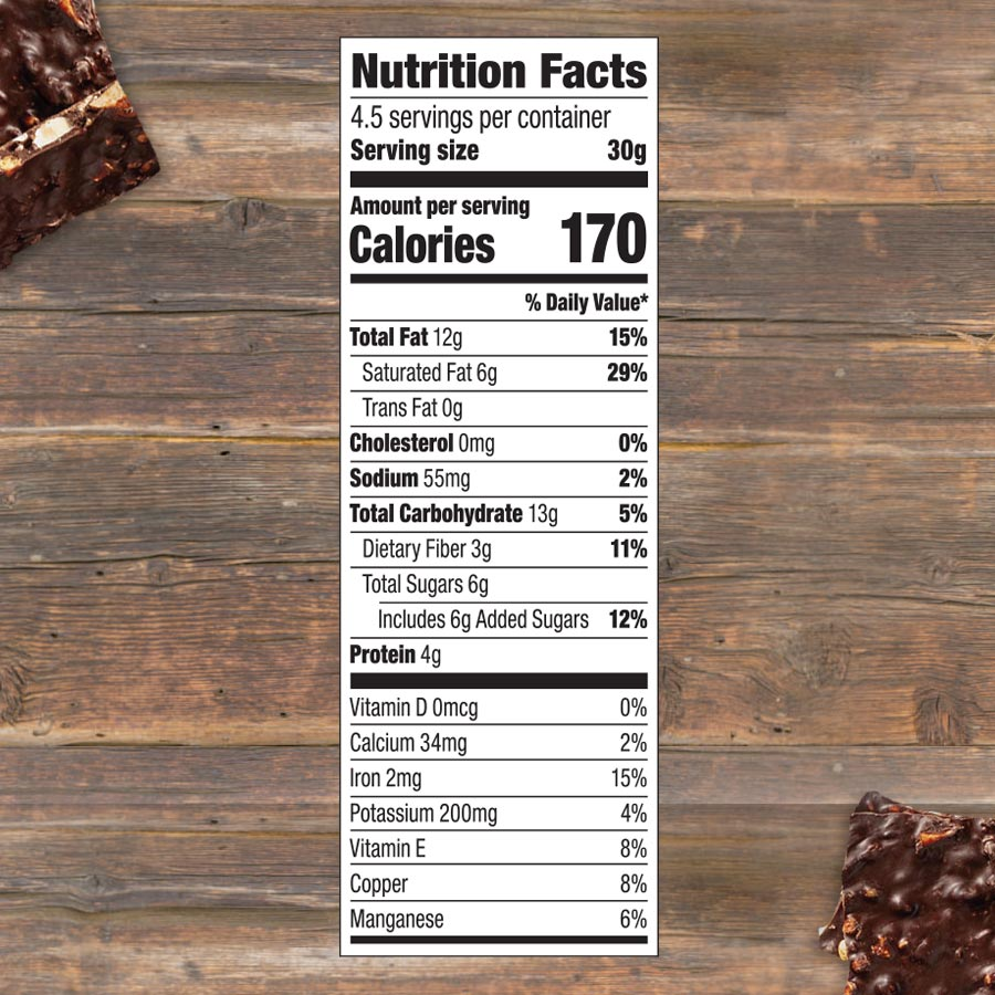 almond sea salt chocolate bark nutrition facts