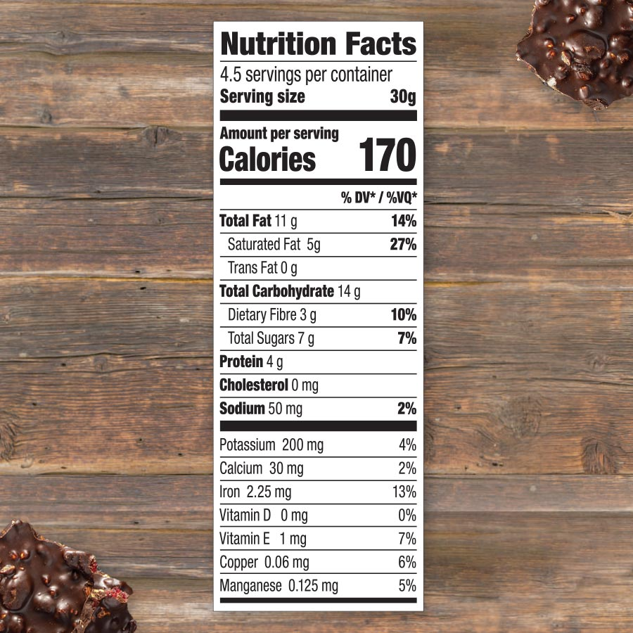 cranberry almond chocolate bark nutrition facts