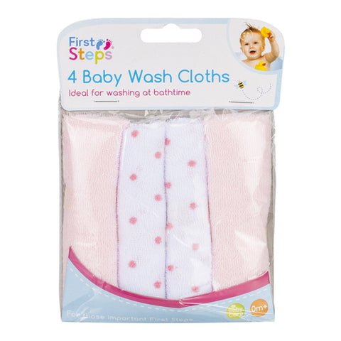 Pack of 4 First Steps Baby Wash Cloths