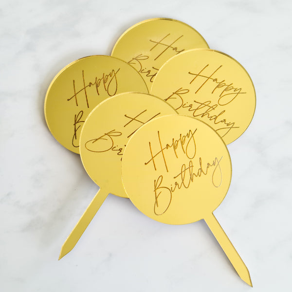 Happy birthday gold acrylic cake topper Isle of Man