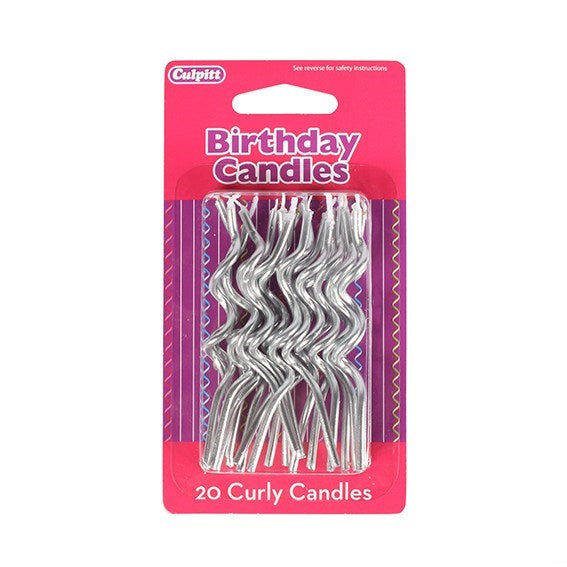 Silver curly birthday cake candles Isle of Man