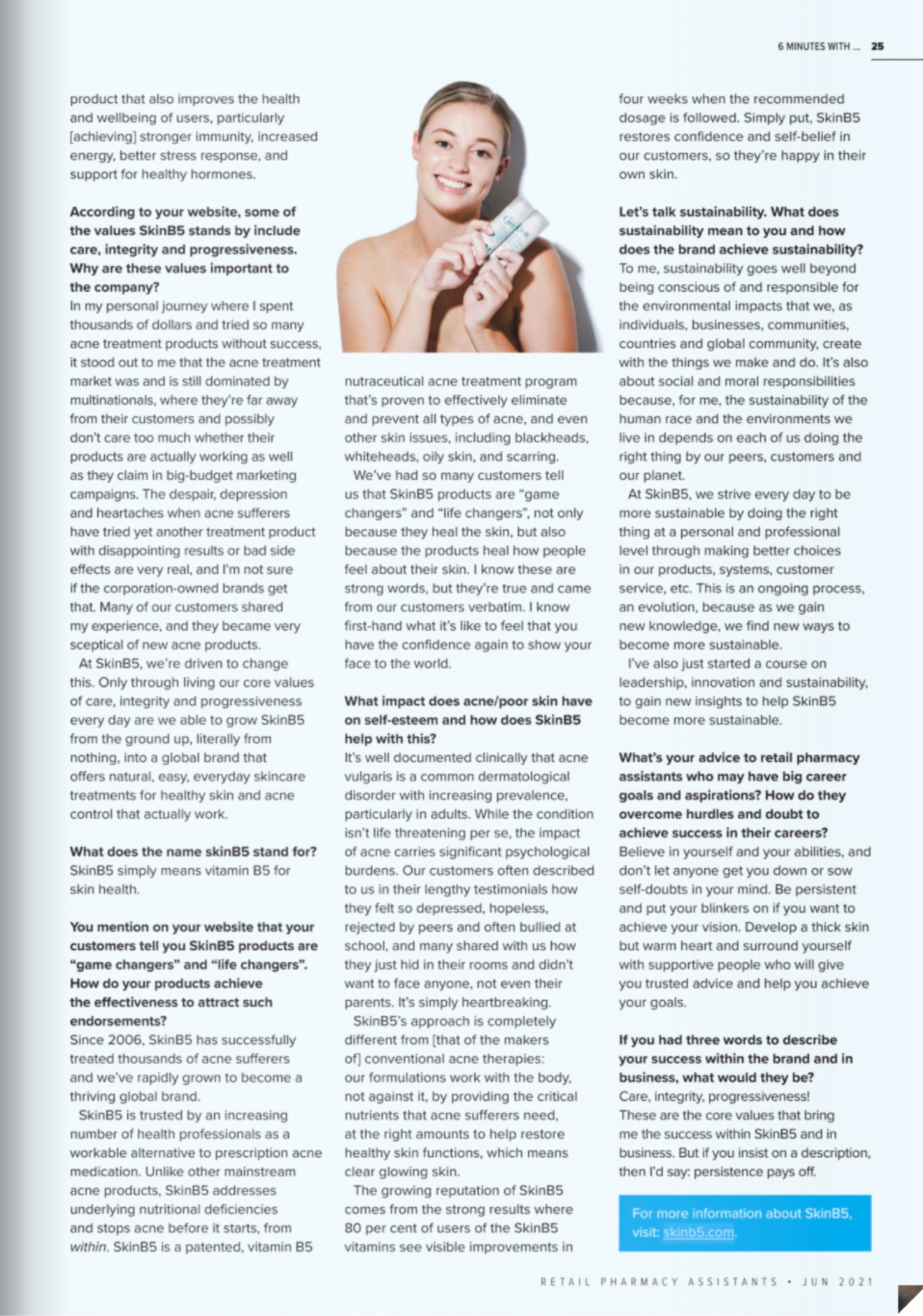 Retail Pharmacy Assistants Magazine Interview with Judy Cheung-Wood SkinB5