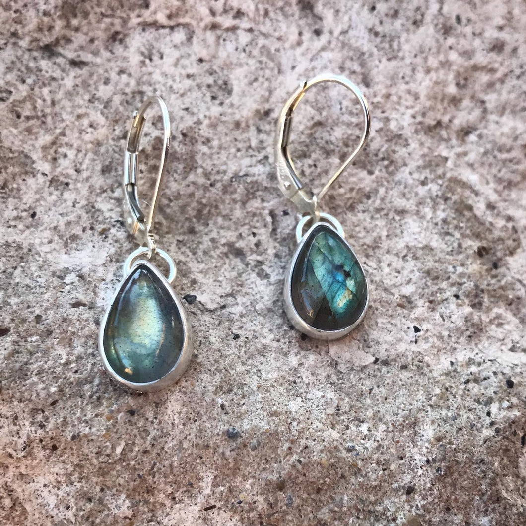 Tiny drop labradorite earrings