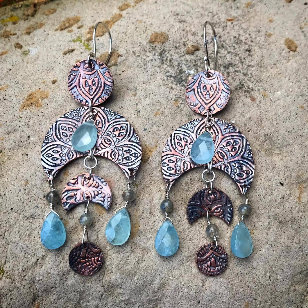 Amadahy - Aquamarine and Labradorite Copper Earrings