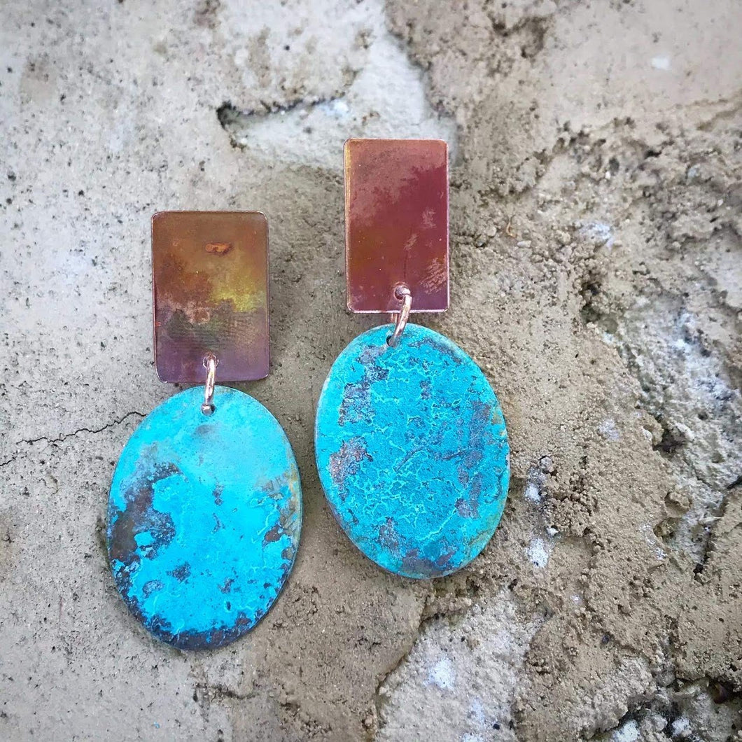 Hinto Blue - Salt and Fire Patina Earrings