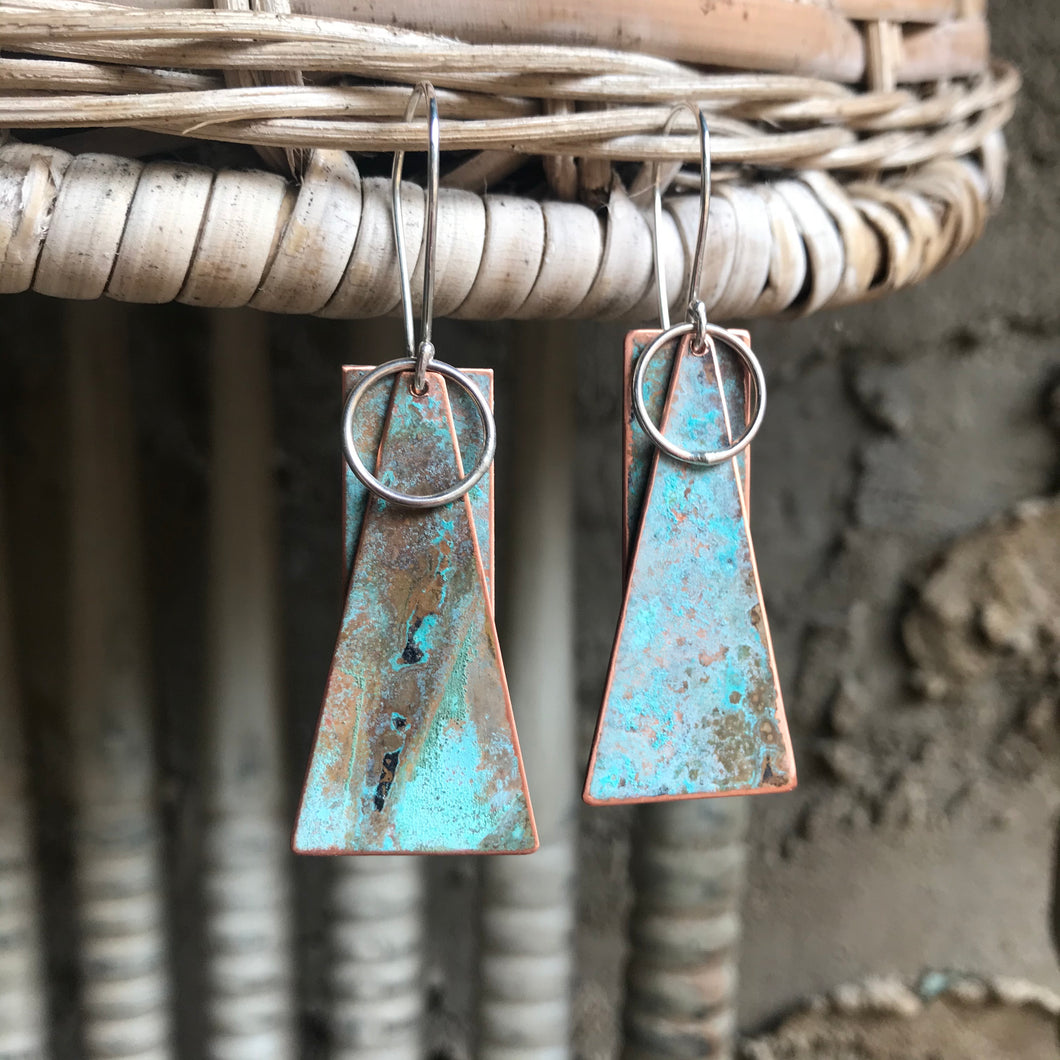 First to Dance - Blue Patina Copper Earrings
