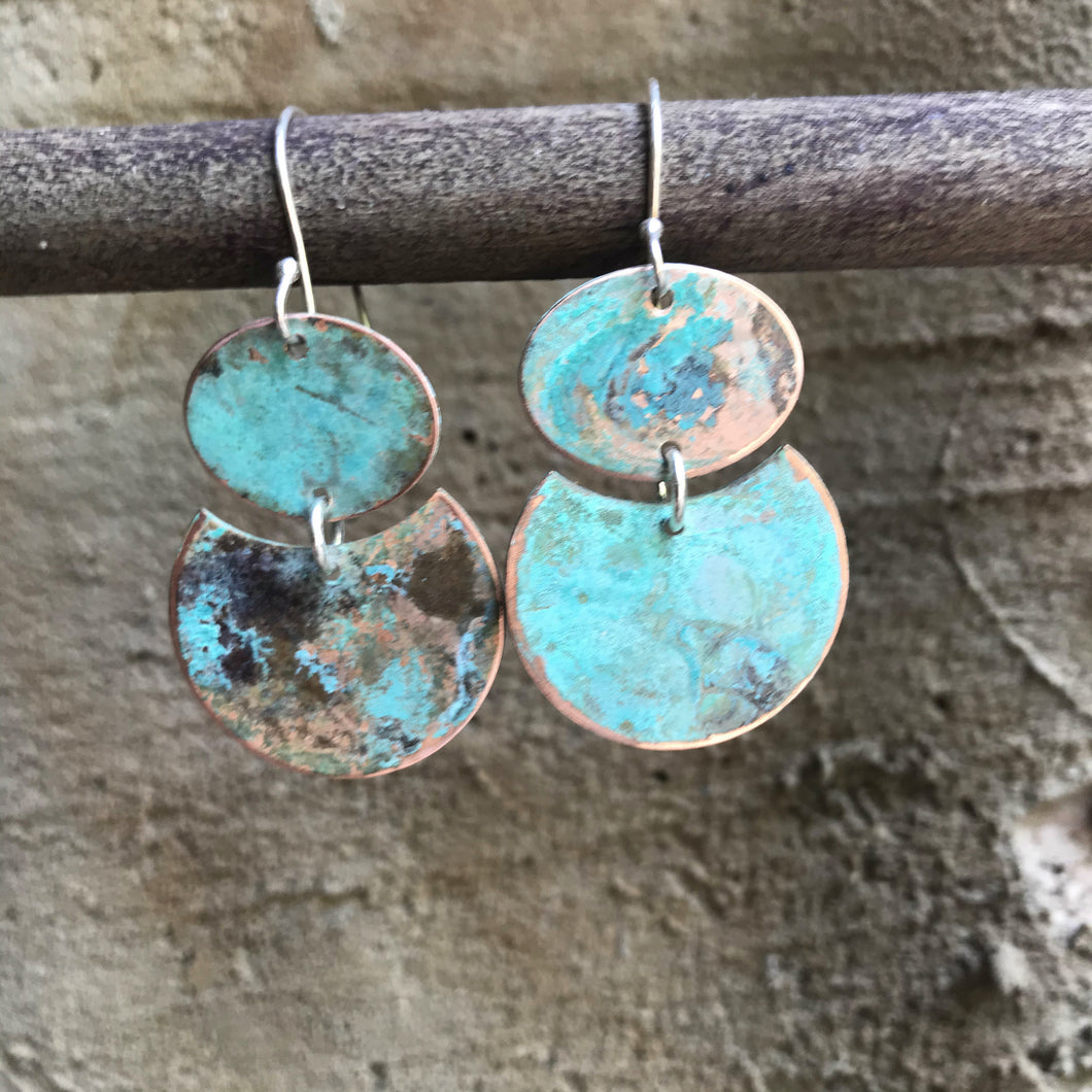Willful - Blue Patina Copper Earrings