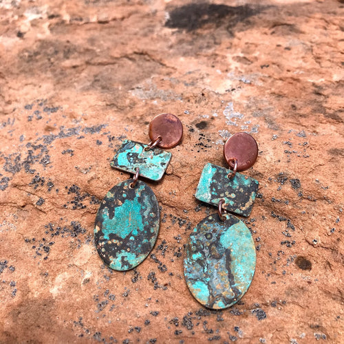 Mirage - Blue Patina Copper Earrings
