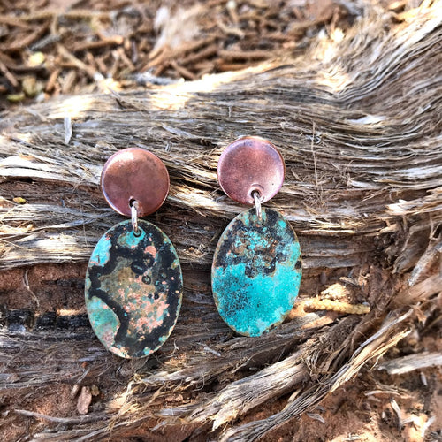 Shadi - Blue Patina and Copper Earrings
